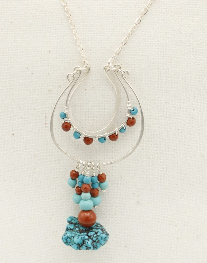 Turquoise beads Western earring w ceramic bead A Little Lucky Shoe Genuine Leather Horseshoe earring Horseshoe